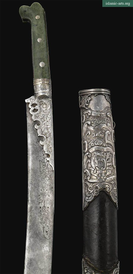 AN OTTOMAN JADE-HILTED SILVER-MOUNTED SWORD