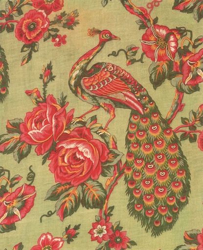 The particular design of the peacock, branches, and large roses suggest that this Russian lining was inspired by a Manchester design for India.