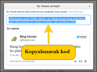 Twitter Embed Kodu
