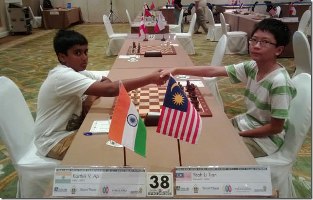 V Karthik, India vs Yeoh Li Tian, Malaysia, round 6, BCC2013, Thailand