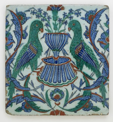 Tile | Origin:  Iznik,  Turkey | Period: early 17th century  Ottoman period | Details:  Not Available | Type: Stone-paste painted under glaze | Size: H: 26.0  W: 24.0  cm | Museum Code: F1966.12 | Photograph and description taken from Freer and the Sackler (Smithsonian) Museums.