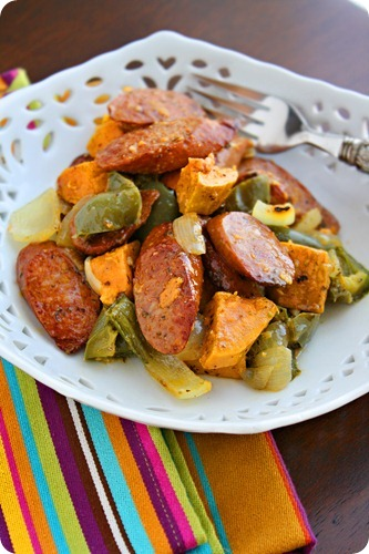 Roasted Sausage, Peppers and Sweet Potatoes – Such a hearty, healthy and delicious all-in-one meal! | thecomfortofcooking.com