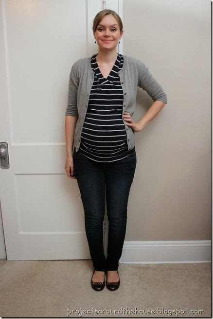 blue and gray striped skirt, gray cardigan, skinny jeans