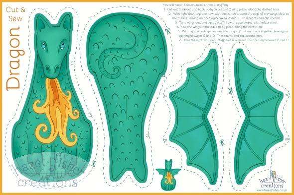 Dragon Mythical Creature Cut and Sew Plushie spoonflower fabric design contest hazel fisher creations
