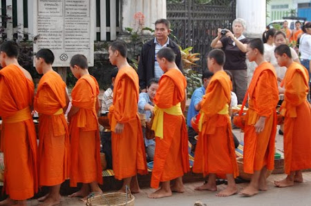 Monks procession in Luang Prabang, Laos
