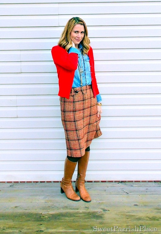 plaid tweed skirt, denim shirt, red cardigan and tall boots3