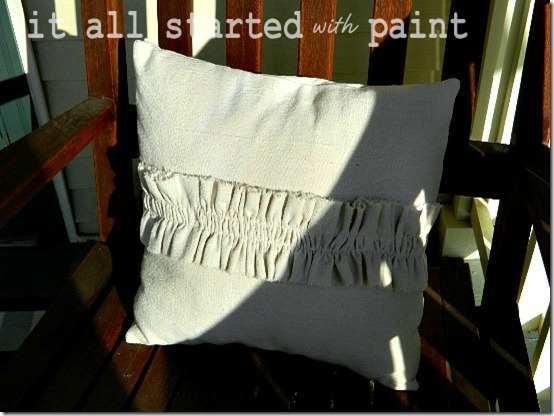 Ruffle Pillow on Porch 4