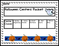 5 Halloween Themed Centers in an easy, no-prep center packet for primary students.