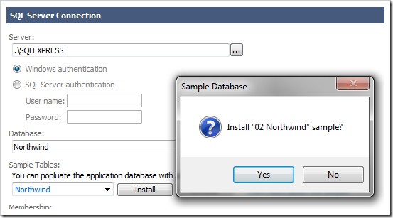 Installing Northwind database tables and data into the specified database.