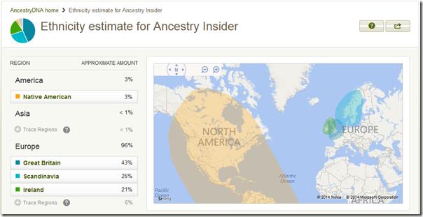 AncestryDNA ethnicity estimate report
