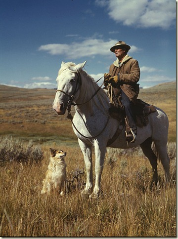 man, horse and dog, 1942 by Russelll Lee