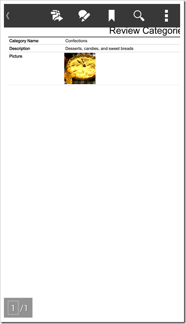 An attachment report with Category details displayed in Adobe Reader on an Android device.