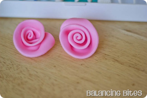 Pink Fondant Ribbon Rose
