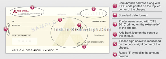 Axis bank cts 2010 compliant cheques