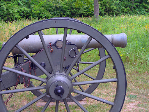 A cannon at the position where Southern Capt. Henry Guibor fired on Union troops at