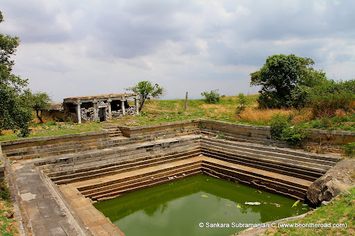 Ruins of Temple and Temple Pond on top of Chandrayana Betta