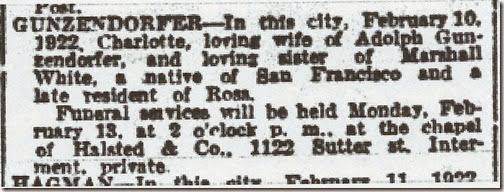 Charlotte White Gunzendorfer Obit SF Chronicle 13 Feb 1922