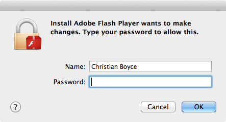 Adobe flash player password