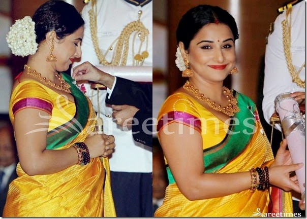 Vidya_Balan_Traditional_Yellow_Saree
