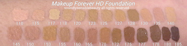 Makeup Forever Invisible Cover Foundation/(MUFE) HD Foundation; Review & Swatches of Shades-107,110, 115, 117, 118, 120, 123,  125, 127, 128 , 130, 135, 140, 145, 150, 153, 155, 160, 165, 170, 173, 175, 177, 178, 180, 185,