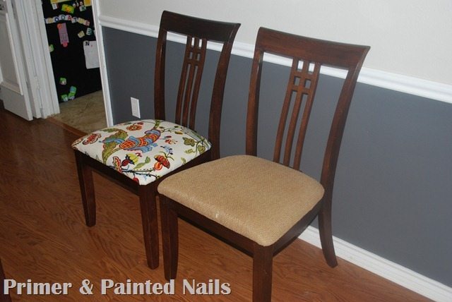 Dining Chair After - Primer & Painted Nails