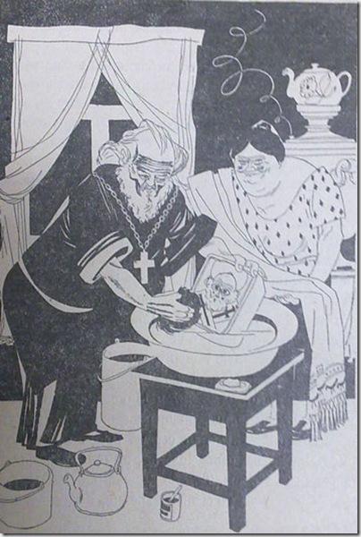 """Карикатура 30-х годов из книги Е.Петровского """"Чудеса и мощи"""". Подпись: """"А совсем немного работал над ним батюшка отец Николай: вымыл теплой водичкой, маслицем помазал, полотенцем обтер""""."""