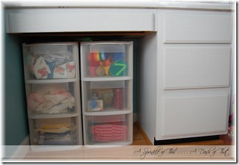 Plastic storage drawers before {A Sprinkle of This . . . . A Dash of That}