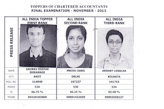 First 3 rank holders of CA Final Nov 2013 result Gaurav Deepak Shrawagi, Mridu Garg and Akshay Losalka #ChartAcc by Vikrmn CA Vikram Verma