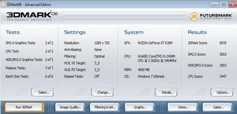 Lenovo IdeaPad z470 benchmark. 3dmark06