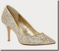 Dune Gold Glitter Court Shoe