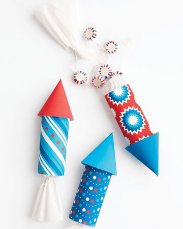 These rockets make playful favor packages for an Independence Day bash or a child's summer birthday. No rocket-science required to make these!  <http://www.marthastewart.com/photogallery/patriotic-crafts#slide_1>