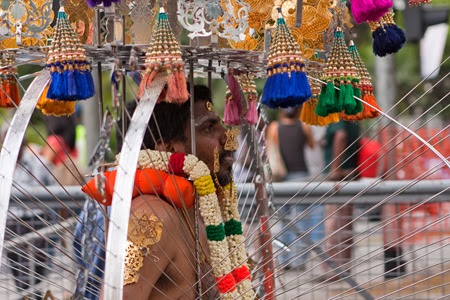 Il Festival Thaipusam kavadi baldacchino