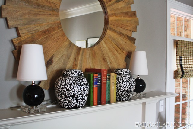 decorating a mantel with lamps