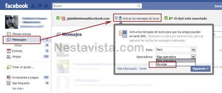 Como enviar y recibir mensajes SMS desde Facebook
