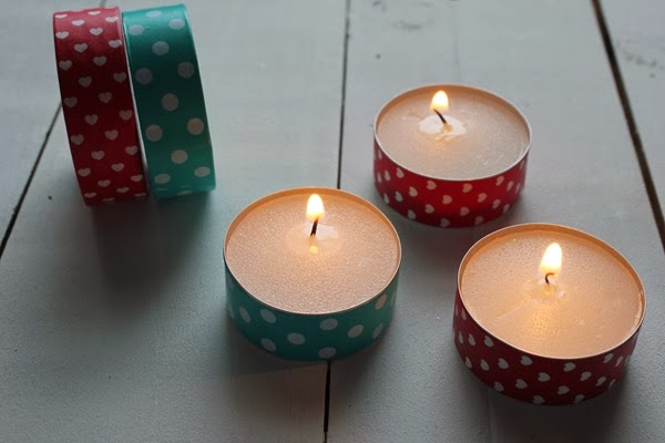 DIY Washi Tape Tealight Candles
