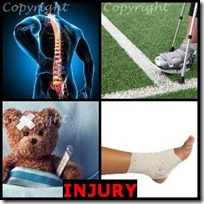 INJURY- 4 Pics 1 Word Answers 3 Letters