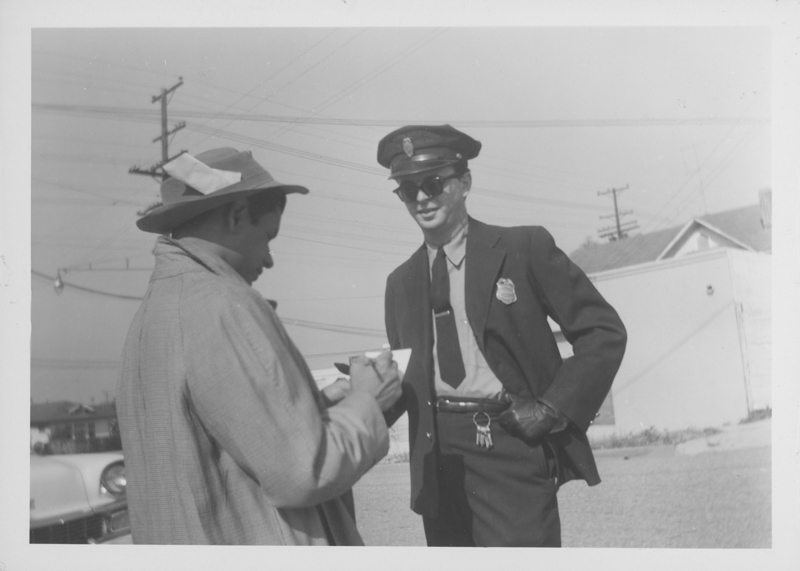 One of the pictures taken of Jim Kepner dressed as a policeman considered as a possible cover for the June 1958 issue of ONE Magazine. 1958.