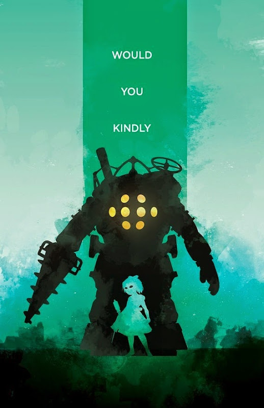 Bioshock Inspired Video Game Poster - Would You Kindly by The Pixel Empire