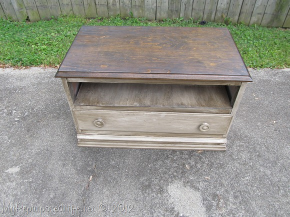 chest of drawers repurposed into an entertainment center