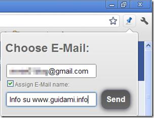 Save & Email My Tabs digitare email del destinatario e oggetto dell'email
