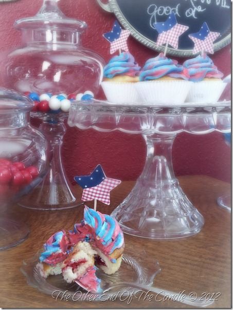 Vanilla Cupcake with Cherry Filling & Patriotic Frosting