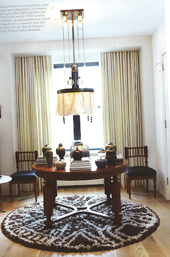 Carlos Aparicio in New York chose a 1910s adjustable light fixture in hammered brass, glass, and fabric designed by Carl Westman. The rug is by Marta Maas-Fjetterstrom. (Dealer's Choice, Architecture/Interiors Press, Inc.)
