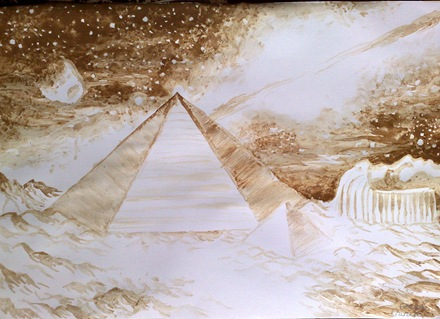 Piramidele si fata din zona Cydonia de pe Marte pictura facuta cu cafea - Coffee painting of the pyramids and face on mars