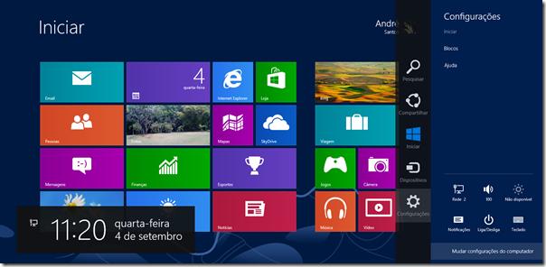 Mova o mouse para qualquer canto direito da tela e clique em Configurações. Depois, clique em Mudar configurações do computador