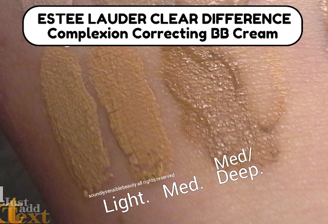 Estee Lauder Clear Difference BB Cream  Complexion Correcting Beauty Balm SPF 35; Review & Swatches of Shades Light, Medium, Medium Deep,