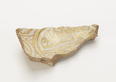 Bowl (fragment) | Origin:  Egypt | Period: 11th century  Fatimid period | Details:  Not Available | Type: Earthenware painted in lustre on an opaque white glaze | Size: H: 11.6  W: 6.7  cm | Museum Code: F1908.209 | Photograph and description taken from Freer and the Sackler (Smithsonian) Museums.