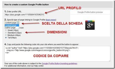 bottone profilo di google