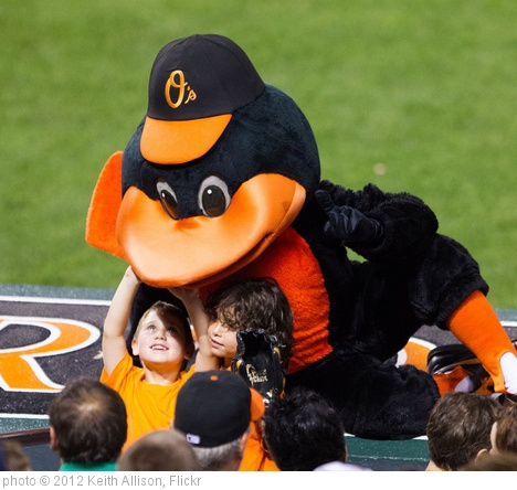 'Baltimore Orioles bird with young fans' photo (c) 2012, Keith Allison - license: http://creativecommons.org/licenses/by-sa/2.0/