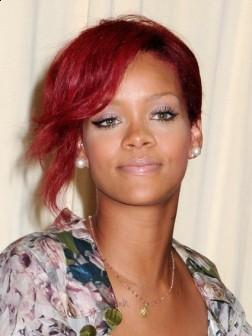 Rihanna with Trendy Red Short Hairstyle