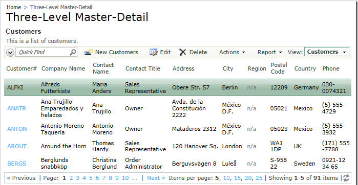 All three data views visible in the master-detail relationship on the Customers page.